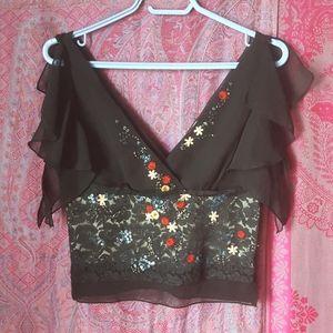V Neck Black Flutter Sleeve Embellished Blouse Top